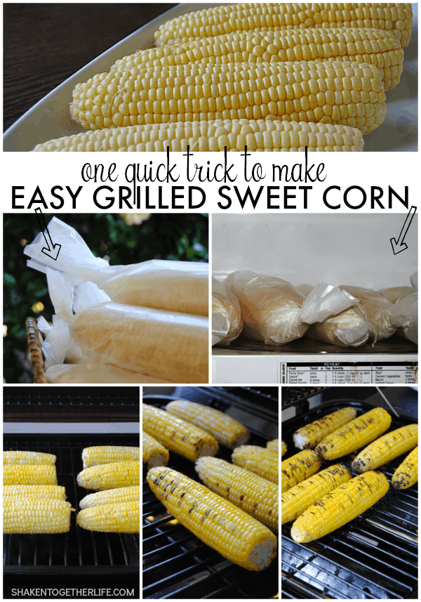 Quick tip to make grilling fresh corn quick and easy?  Wrap the ears in waxed paper and pop them in the microwave for a few minutes - tender corn in no time!