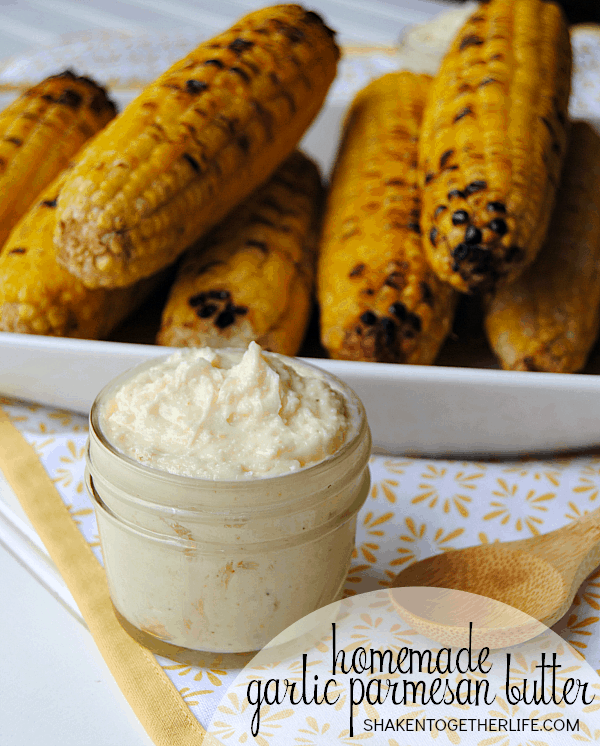 My family raved about Easy Grilled Sweet Corn with homemade garlic Parmesan butter and this one little trick will make this Summer side dish so much easier!