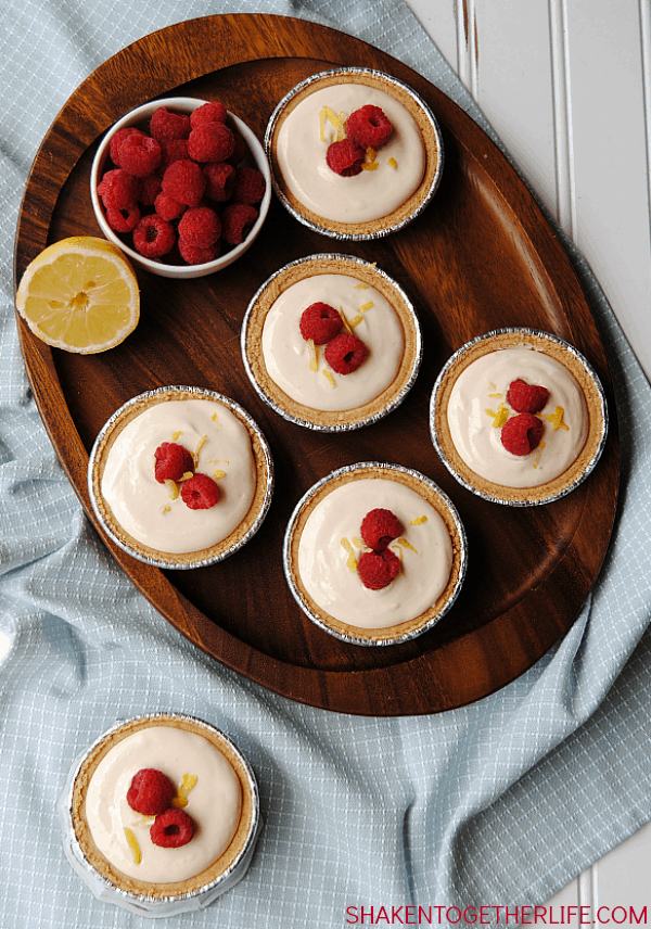 With only 4 ingredients, Mini Raspberry Lemonade Pies are a seriously easy no-bake desserts that are perfect for picnics, pot lucks & Summer get togethers!