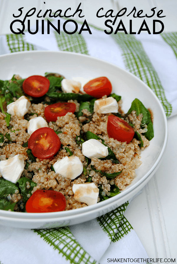When the temperatures rise, this Spinach Quinoa Caprese Salad is a great light lunch or dinner that is packed with protein and healthy fresh vegetables!