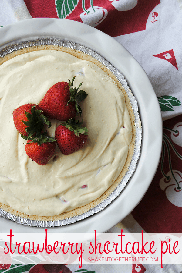 A shortbread crust, creamy vanilla fluff filling and tons of fresh strawberries make this no-bake Strawberry Shortcake Pie so delicious!