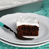 Turtle Candy Cake! A moist chocolate cake has a hidden layer of caramel, pecans and chocolate chips - just like the classic turtle candies. Add a fluffy layer of whipped topping and pop this cake in the fridge for a cool, decadent treat!