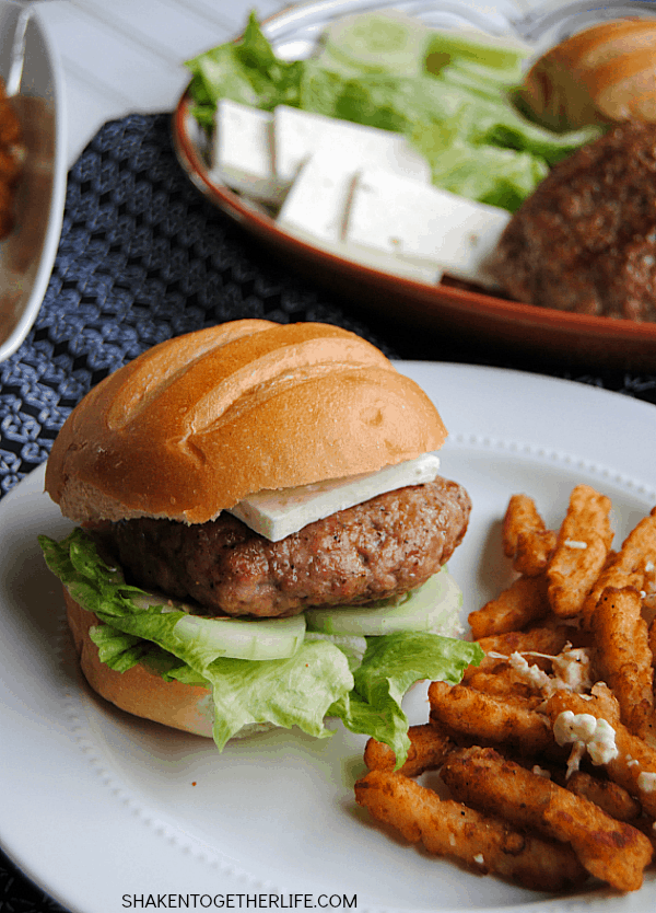 Greek Pork Burgers & Feta Fries