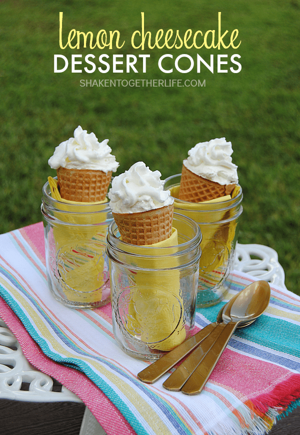 Fluffy lemon vanilla cheesecake is stuffed inside a sugar cone and then topped with whipped cream! These Lemon Cheesecake Dessert Cones are the perfect fun, no-bake dessert!