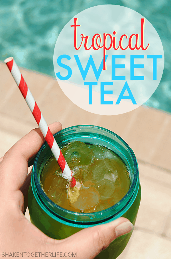 Forget coffee! Tropical Sweet tea is a delicious blend of classic sweet tea and 3 tropical fruit juices! It is the perfect way to perk up on Summer mornings!