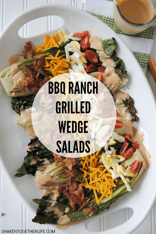 BBQ Ranch Grilled Wedge Salad - who knew you could grill salad?! Grilled romaine hearts are topped with traditional wedge salad toppings and drizzled with a delicious BBQ Ranch salad dressing!