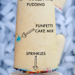 funfetti pudding pop over ice cubes