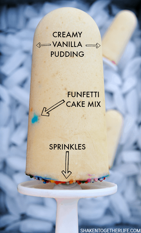 Funfetti Pudding Pops will give birthday cake a run for its money! Creamy pudding, Funfetti cake mix and whipped topping are blended for these frosty treats!