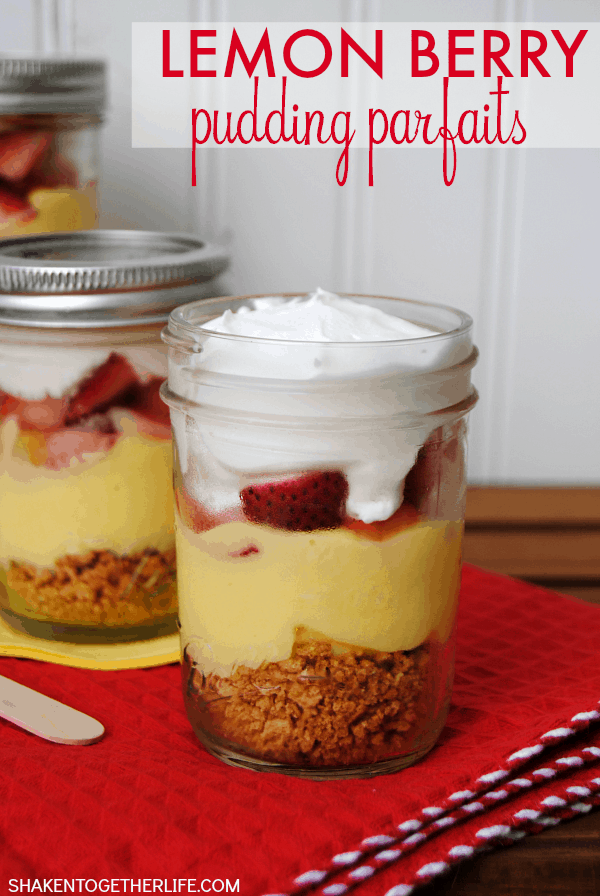 Lemon Berry Pudding Parfaits with layers of graham crackers, pudding, fresh berries and fluffy whipped topping are a lightened up Summer dessert!