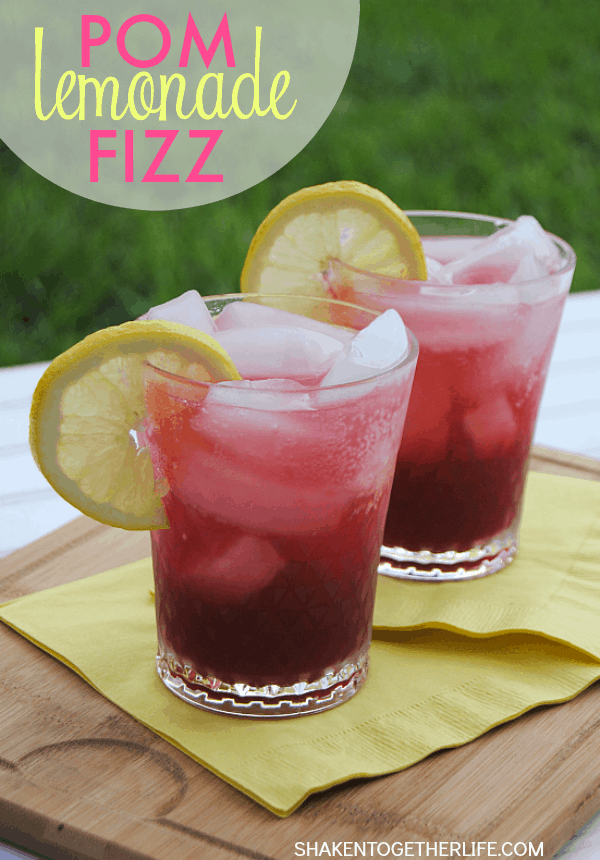 Bright, tangy and refreshing, a Pom Lemonade Fizz Mocktail {a non-alcoholic twist on a Sloe Gin Fizz} is perfect for poolside lounging and Summer entertaining!  #SplendaSweeties #SweetSwaps