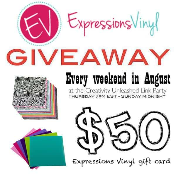 Creativity unleashed link party vinyl giveaway!
