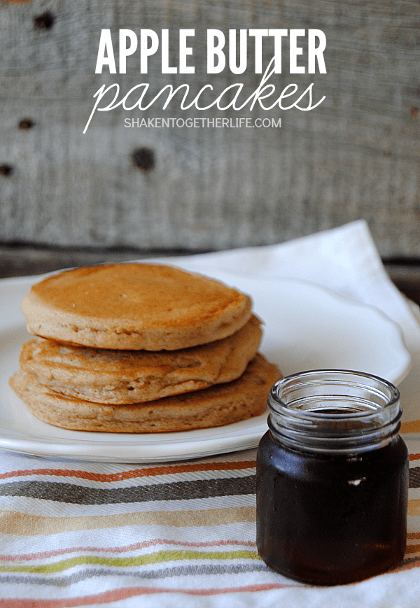 Soft, fluffy and bursting with apple and spices, these Apple Butter Pancakes are perfect for Fall breakfasts!