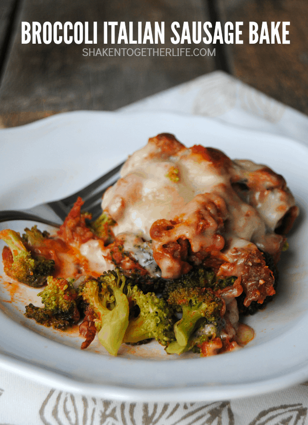Bursting with broccoli, Italian cheeses and flavorful Italian sausage, you will not miss the pasta in this Broccoli Italian Sausage Bake!