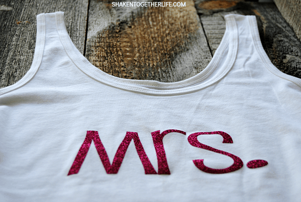 Need a fun gift for a newly minted bride? I'll show you how to make a Mrs. shirt for her with a tank top and sparkly heat transfer vinyl in minutes!