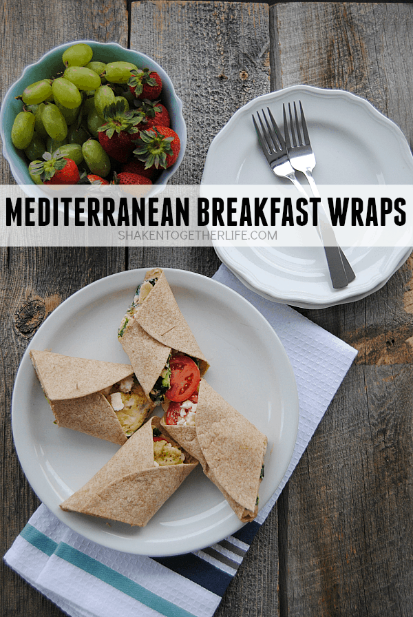 Mediterranean breakfast wraps are a healthy way to start the day! Packed with egg whites, spinach, tomatoes, feta and even hummus, this wrap is protein packed and hearty enough for brunch or lunch, too!