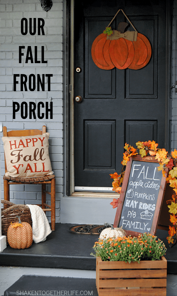 Our Fall Front Porch - a warm and inviting, bright and welcoming space that greets guests all the way through November!
