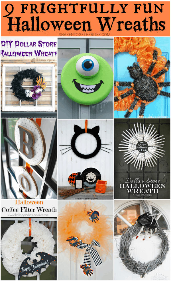 9 Frightfully Fun Halloween wreaths - glow in the dark, a black cat wreath, dollar store wreaths and more!