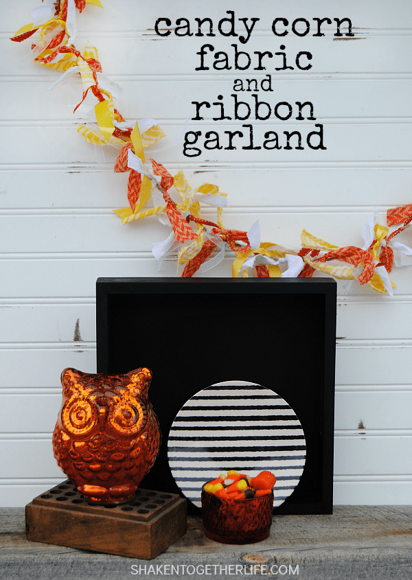 Candy Corn Fabric and Ribbon Garland - an easy, whimsical garland perfect for Fall and Halloween decorating!