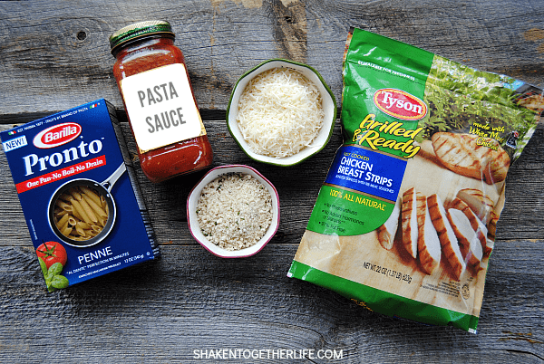 One pan, 5 ingredients ... dinner in 15 minutes! This Skillet Chicken Parm Pasta has the taste of classic chicken Parmesan without all the hassle!