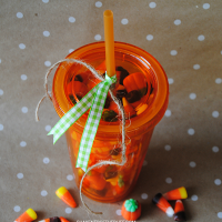 Turn a plain insulated tumbler into an adorable pumpkin themed gift!