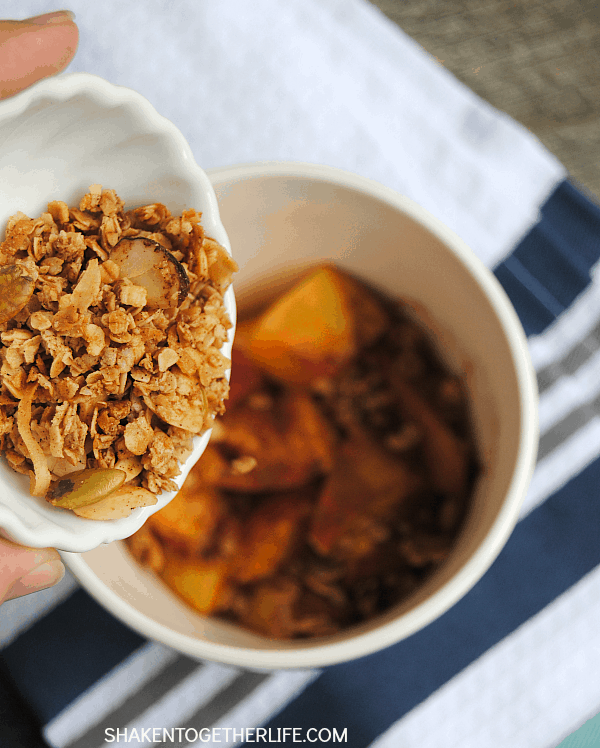 Gorgeous fresh peaches are warmed with cinnamon and topped with a crunchy, homemade granola - this Peach Crisp for One is done is a minute!