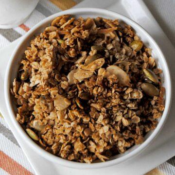 pumpkin pie granola in white bowl