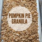 pumpkin granola on baking sheet