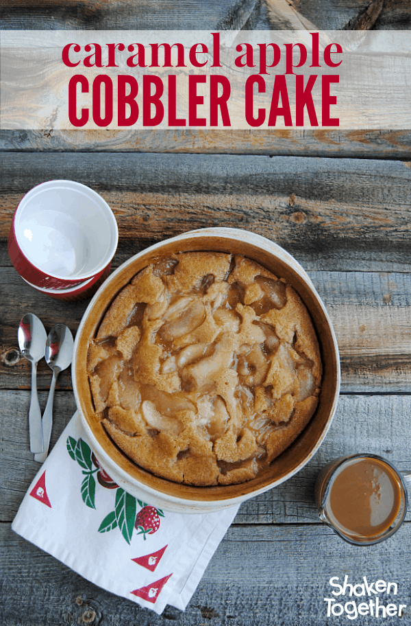 A soft, brown sugar cake filled with apples and then drizzled with caramel, you will love this easy Caramel Apple Cobbler Cake!