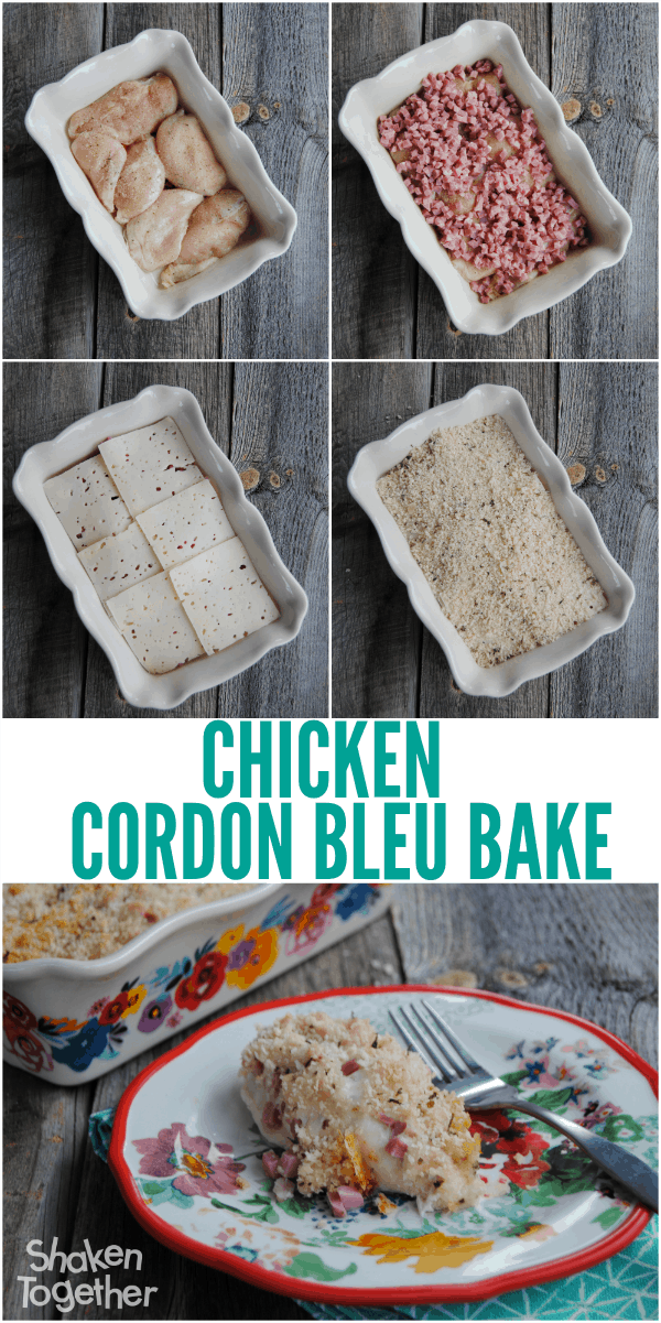 Another easy week night meal win! This Chicken Cordon Bleu Bake only has 4 ingredients - just layer and bake.  Our family gobbled it up!