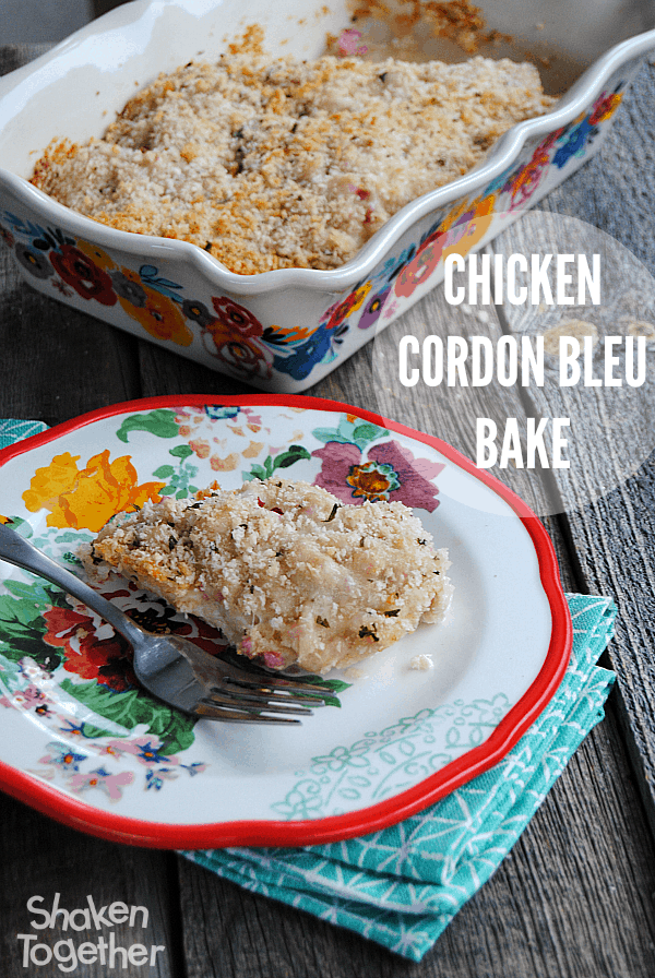 Another easy week night meal win! This Chicken Cordon Bleu Bake only has 4 ingredients and our family gobbled it up!