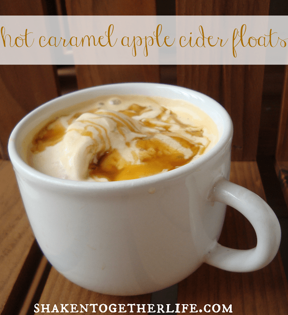 Hot Caramel Apple Cider Floats