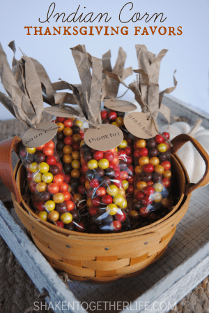Indian Corn Thanksgiving Favors from Shaken Together