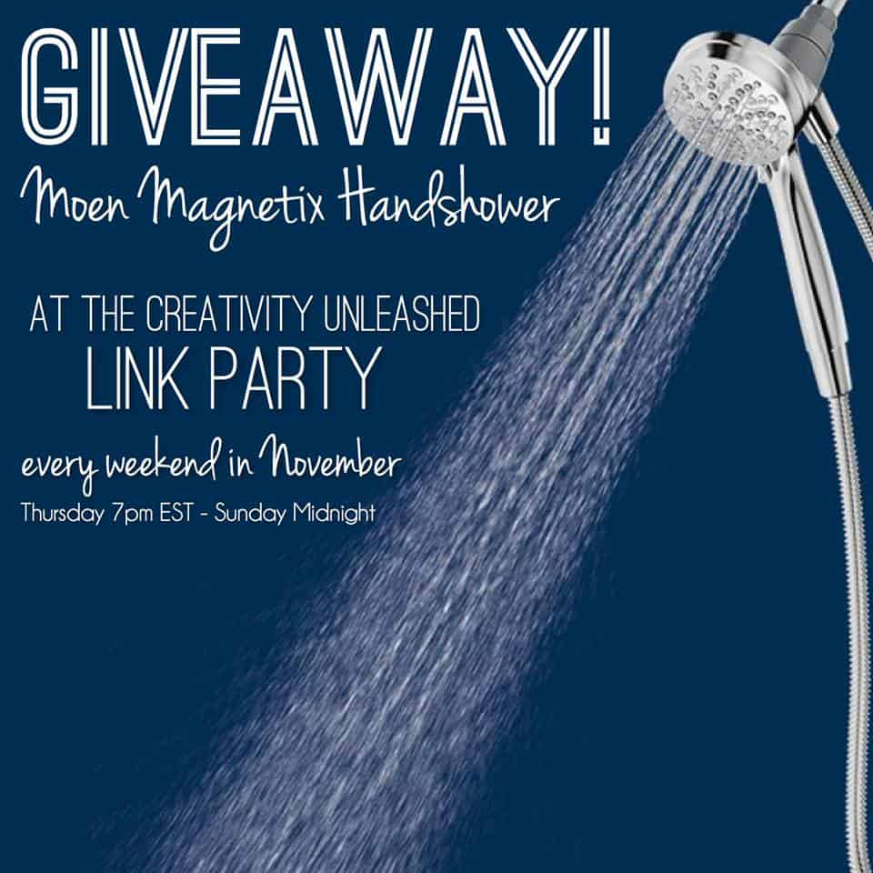 Enter to win a Moen Magnetix Handshower every week in November at the Creativity Unleashed Link Party!