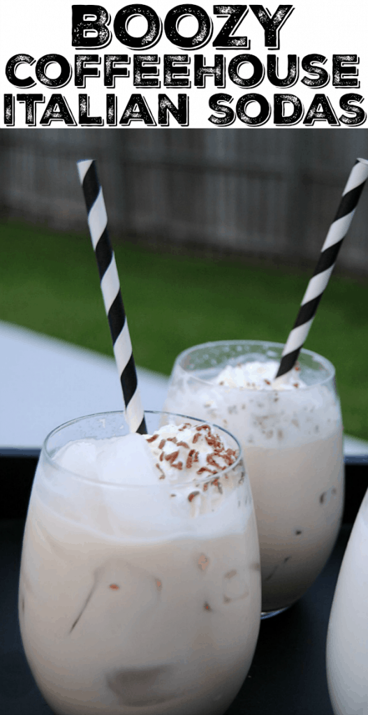 Coffee break meats happy hour with these creamy Boozy Coffeehouse Italian Sodas! These are perfect for your holiday parties and New Year's Eve!