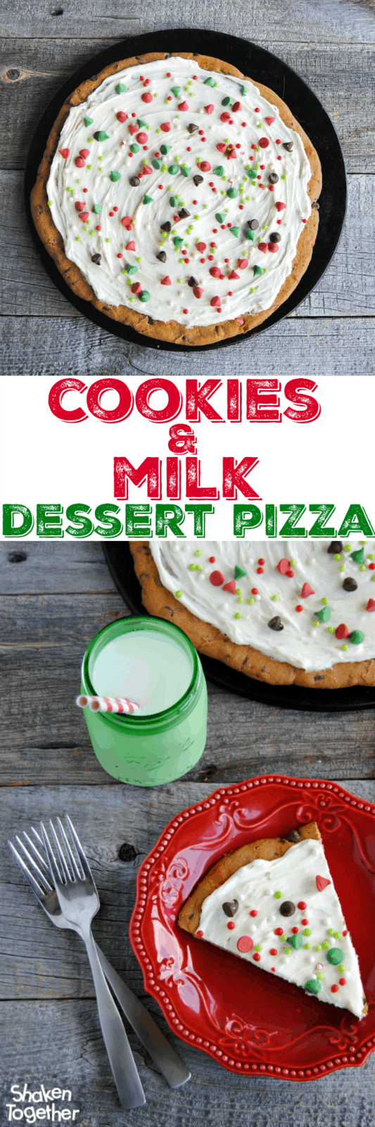 Cookies & Milk Dessert Pizza is such a festive and easy dessert for the holidays! Cookie crust and milk frosting are topped with holiday chips and tons of sprinkles!