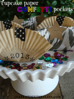 Use cupcake papers to make easy, inexpensive confetti pockets!