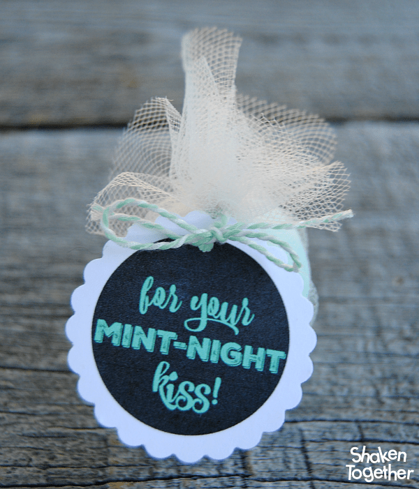 For your Mint-Night Kiss New Year's EOS gifts - what a super cute idea for party favors! You could also use the printable tags for gum, mints or mini mouthwash!