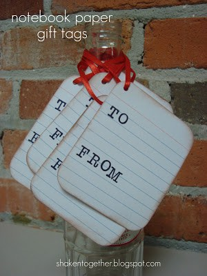 Notebook paper gift tags