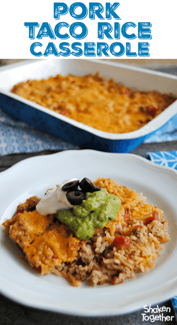 With only 4 ingredients, this Pork Taco Rice Casserole is easy and hearty! Serve it with your favorite taco toppings and cornbread!