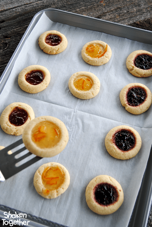 Reynolds Cookie Baking Sheets helped our Jam Thumbprint Cookies bake evenly and slide right off - no sticking!