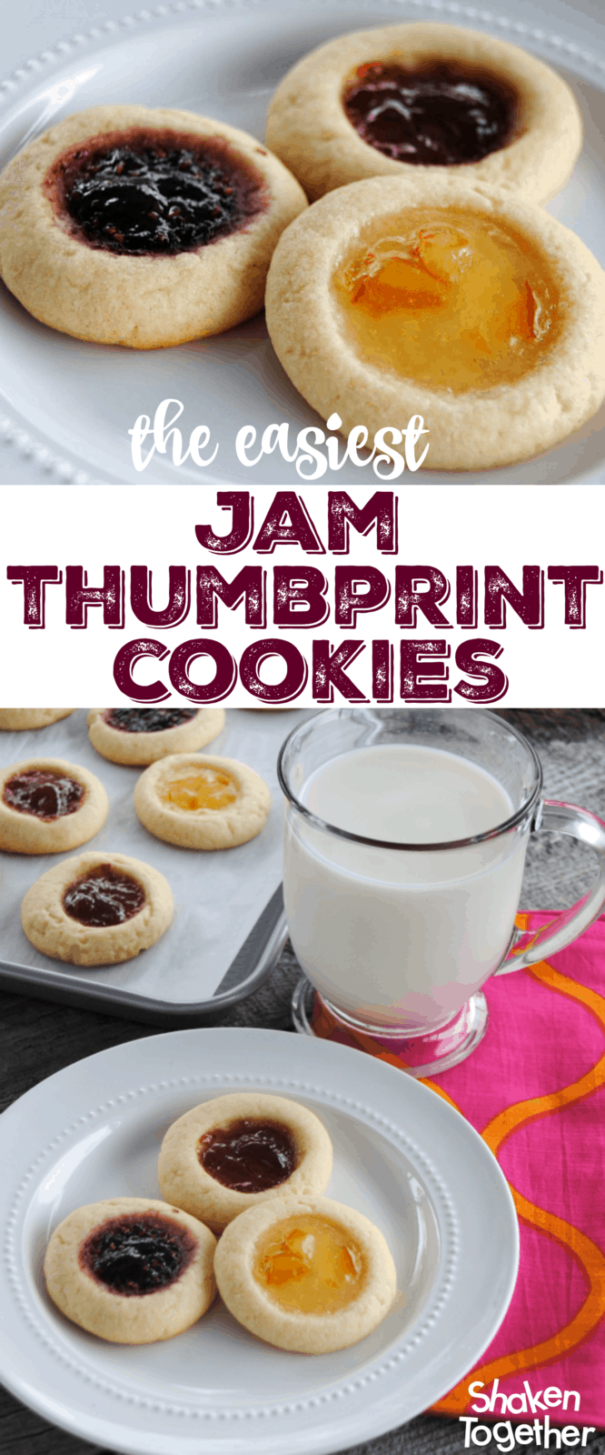 Soft buttery sugar cookies filled with your favorite fruity jam - these might be the easiest Jam Thumbprint Cookies ever!