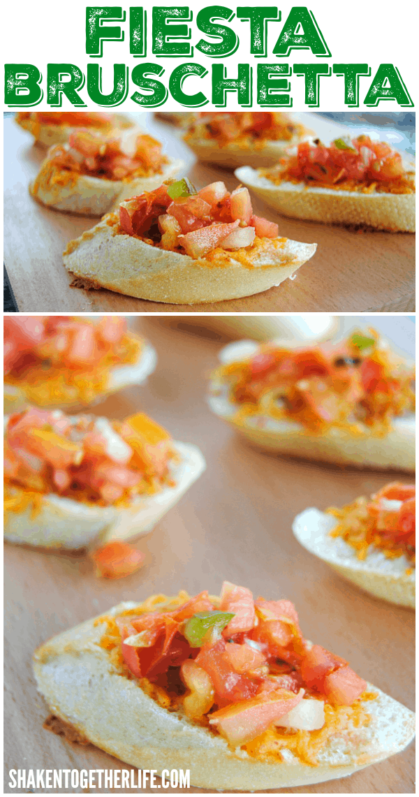 We can't get enough of this Fiesta Bruschetta made with melty taco seasoned cheese and fresh salsa!