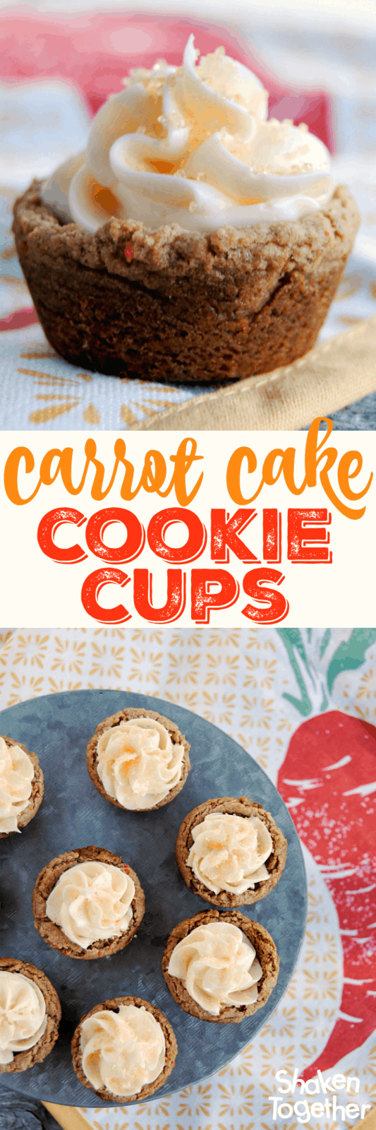 Busy bakers, I have the recipe for you! Carrot Cake Cookie Cups! They start with a cake mix, so these two-bite treats couldn't be easier!