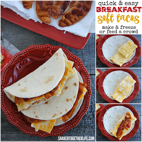 4 ingredient, freezer friendly Breakfast Soft Tacos - make a big batch ahead for those hectic weekday mornings!