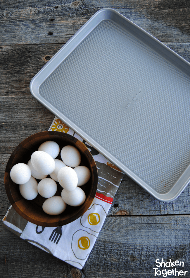 bowl of eggs and empty sheet pan