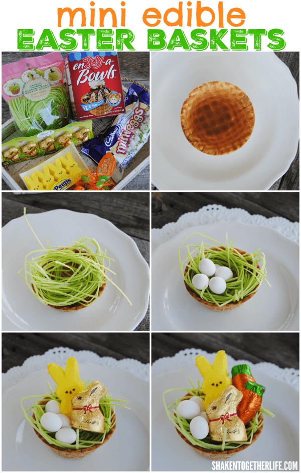 Assembling our Mini Edible Easter Baskets was so easy! Perfect for a kids' activity!