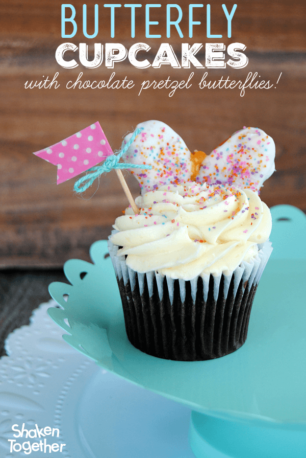 Give store bought cupcakes a cute makeover with chocolate pretzel butterflies - no one will no that these Butterfly Cupcakes aren't homemade!