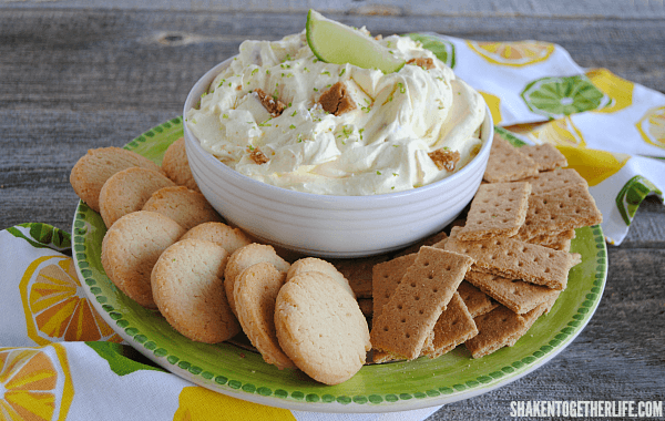 Key Lime Pie Dip - you will love how easy it is to whip up this cool, creamy citrus dip with pieces of key lime pie stirred right in!