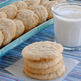 Chewy Lemon Coconut Sugar Cookies - this one bowl recipe makes over 4 dozen cookies! Just stir, scoop and bake!