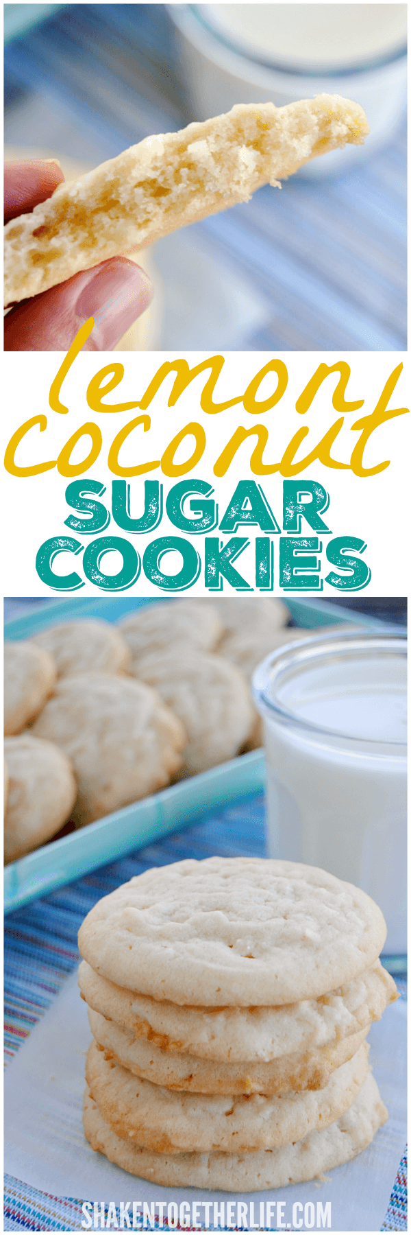 Lemon Coconut Sugar Cookies - one bowl, no rolling dough ... just stir, scoop and bake!